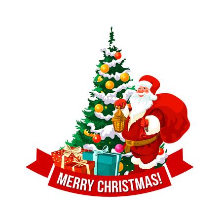 Merry Christmas vector Santa en boom pictogram