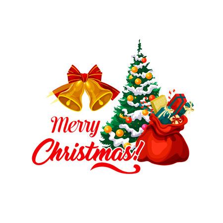 Kerstboom en geschenken pictogram, vectorillustratie.