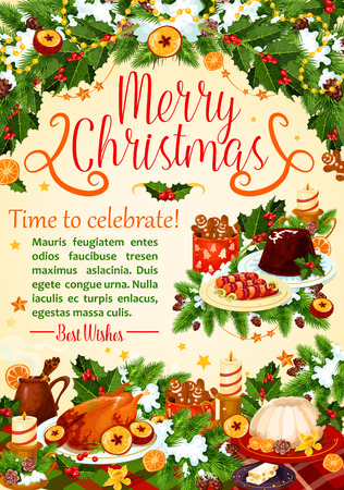 Christmas turkey poster, New Year holiday design