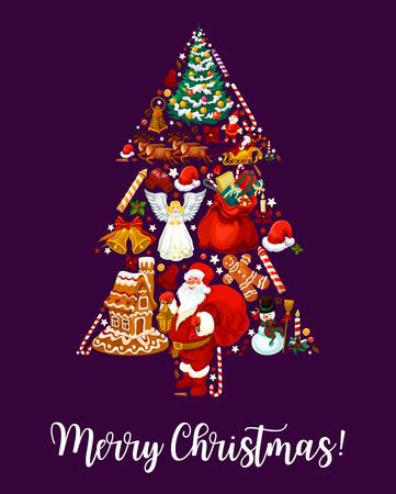 Merry Christmas tree wens wenskaart, vectorillustratie. Stock Illustratie