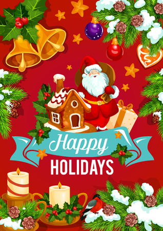 Christmas and New Year holidays greeting card, vector illustration.