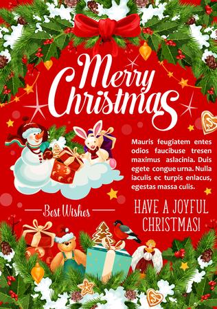 Merry Christmas vakantie vector wenskaart, vectorillustratie. Stock Illustratie