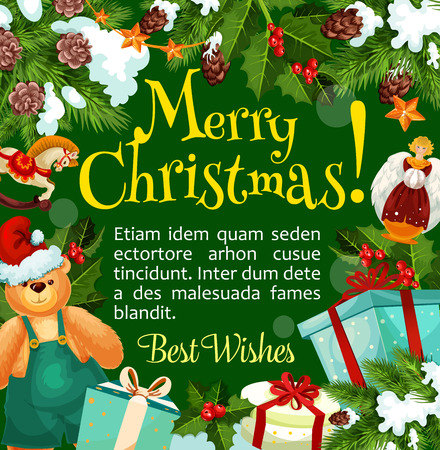 Christmas winter holiday greeting poster with Xmas tree and holly berry frame border. Santa gift and present box with ribbon bow, snowflake and star, pine and fir wreath with wishes of Merry Christmas