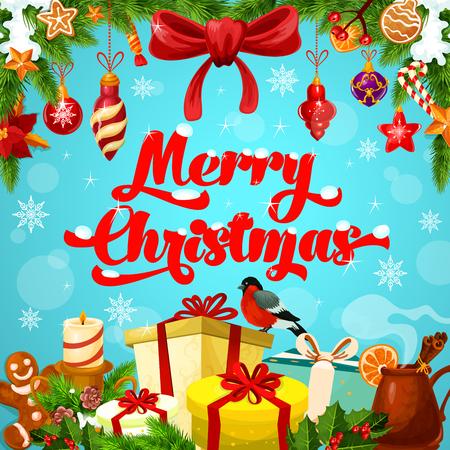 冬のホリデー ギフトのメリー クリスマスのあいさつポスター。クリスマス キャンドル、プレゼント ボックス、リボン弓、星とボール、キャンディ