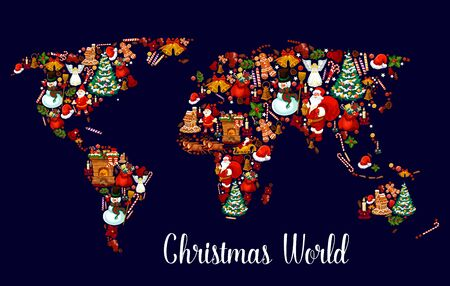 Christmas world map with New Year holiday symbol.