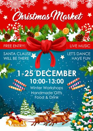 Kerstmarkt poster van winter eerlijke uitnodiging