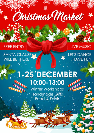 Christmas market poster of winter fair invitation
