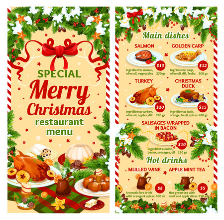 Christmas dinner vector restaurant dish menu Stock Vector - 91102113