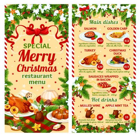 Christmas dinner vector restaurant dish menu Illustration