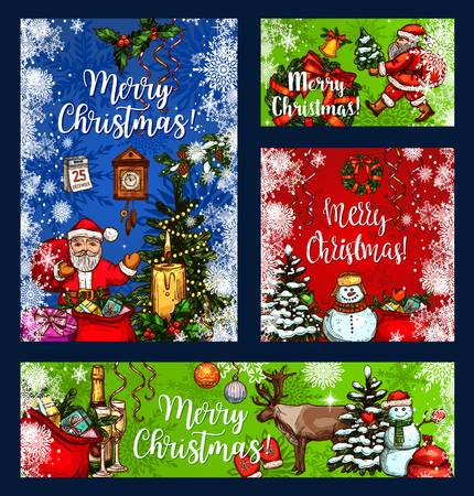 Merry Christmas greeting card, poster or banner for winter holiday design.