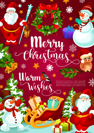 Merry Christmas banner with gifts in Santa sleigh and other Christmas elements.
