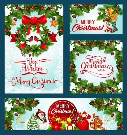 Merry Christmas holiday vector wenskaarten