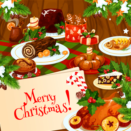 Christmas banner of festive dinner on wooden table Ilustração