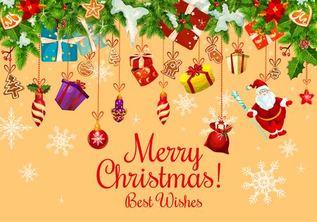 クリスマス プレゼントや新年のガーランド付きクリスマス カード  イラスト・ベクター素材