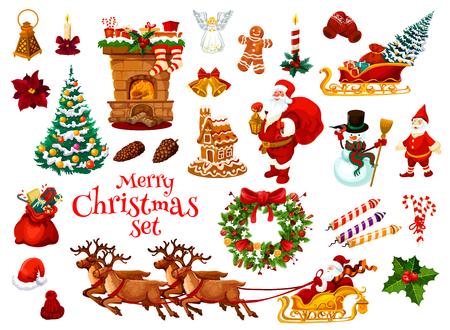 クリスマスと新年のホリデー アイコン。  イラスト・ベクター素材
