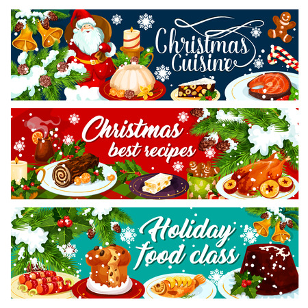 Christmas dinner banner with winter holiday food Illustration