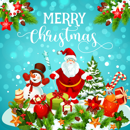 Christmas greeting card of snowman, Santa and gift Vettoriali