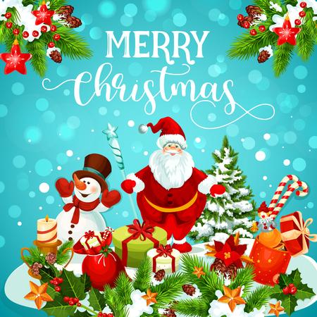 Christmas greeting card of snowman, Santa and gift Ilustração