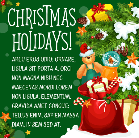 Christmas holiday greeting poster with Christmas tree and gift. Illustration