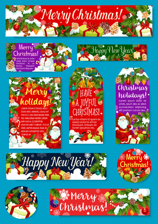 Christmas and New Year holidays gift tag design Stock Illustratie