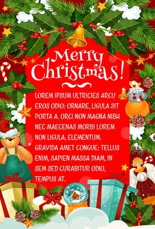 Christmas card of winter holiday gift and garland