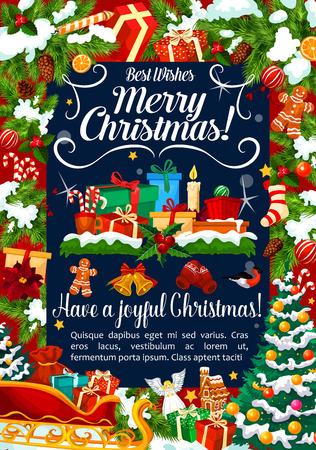 Kerst vector wenskaart decoraties geschenken