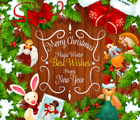Christmas or New Year festive wreath greeting card
