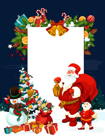 バナーとサンタ クロースのクリスマス グリーティング カード