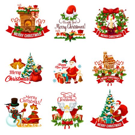 Christmas holiday badge for New Year decoration