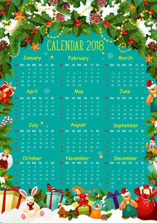 Agendasjabloon met kerstboom en cadeau Stock Illustratie