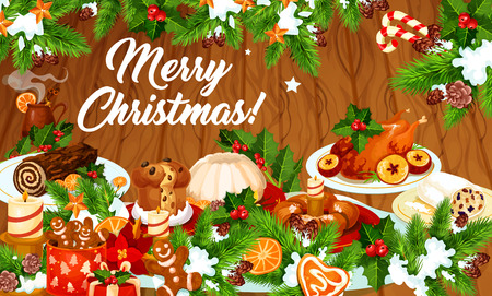 Christmas dinner greeting banner with winter holiday traditional dishes. Ilustração