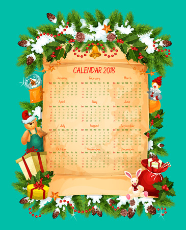 Christmas and New Year calendar on paper scroll
