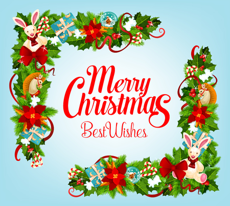 Christmas card with Xmas tree, gift frame corner Illusztráció