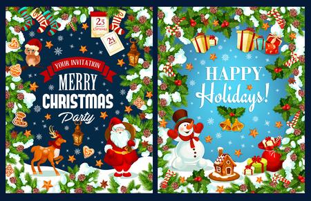 Merry Christmas holidays vector greeting card Illustration