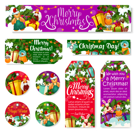Christmas winter holiday tag of New Year gift