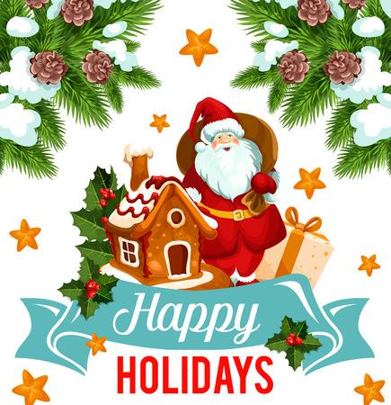 Christmas holiday card with Santa and Xmas gift