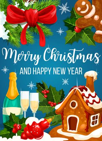 Weihnachtsplätzchen und Neujahr Grußkarte Grußkarte Standard-Bild - 91102174