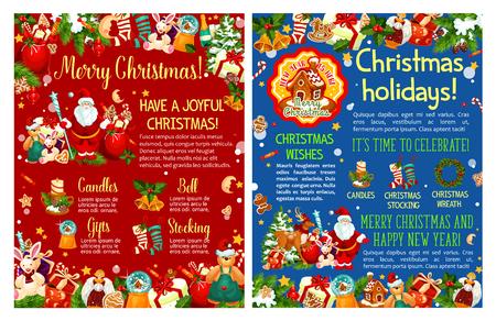 Christmas Santa gifts tree vector sketch greeting