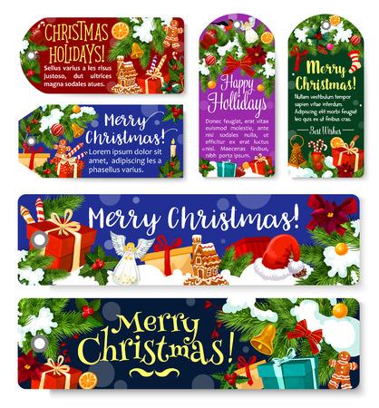Kerstvakantie vector groet cadeau tags Stock Illustratie