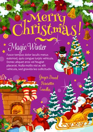 Kerstboom Santa geschenken vector wenskaart