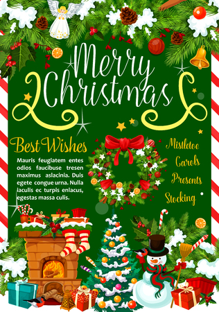 Christmas greetings vector gifts and decorations