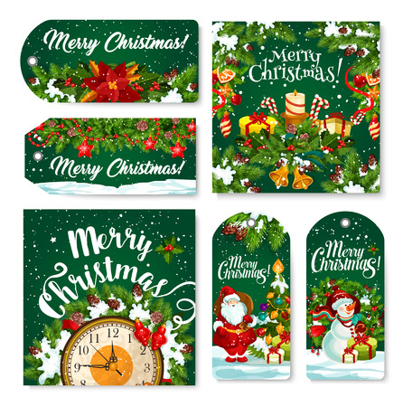 Christmas holiday tags, banners and posters for winter season holiday greetings.