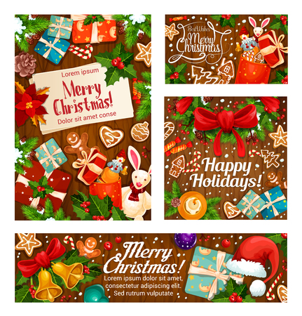 Christmas gifts greeting card on wooden background Illustration