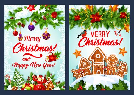 Christmas cookie and New Year garland card design Ilustração
