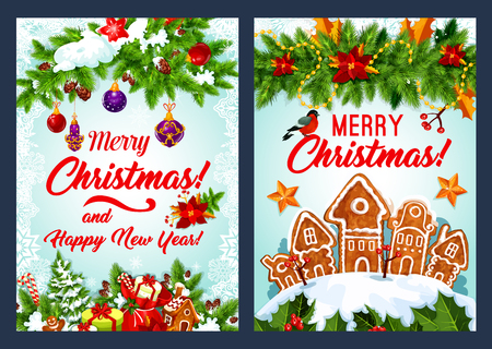 Christmas cookie and New Year garland card design Illustration
