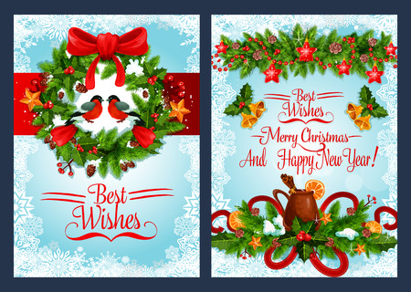 Christmas holiday wreath with Xmas bell banner