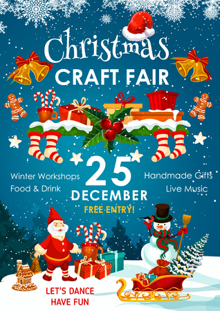 Christmas holiday fair or winter market invitation