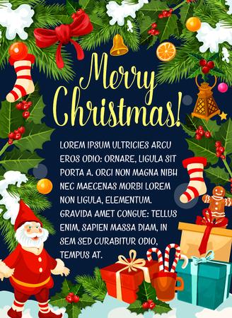 Christmas decorations gifts vector greeting card Иллюстрация