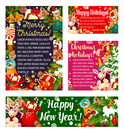 Christmas and New Year holiday gifts greeting card
