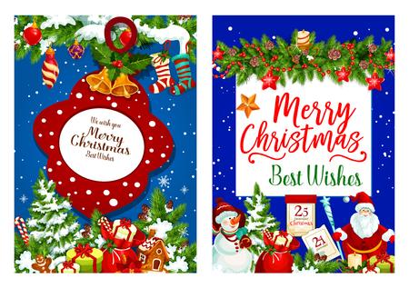 Christmas holiday gifts vector greeting card